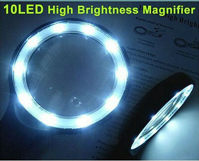 1.8X 5X Hand Held Magnifying Glass with 10 LED Lights Large Reading Magnifier