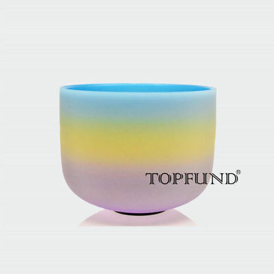 """Perfect Pitch F Heart Chakra Rainbow Frosted Quartz Crystal Singing Bowl 10"""""""