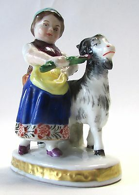 18c. Antique Chelsea Derby Pottery Girl with Goat Figurine Porcelain