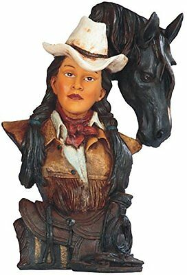 "13.5"" Cowgirl in Pony Tails with Horse Figurine Bust Statue Western Figure"