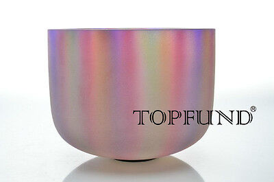 Perfect Pitch F Heart Chakra Rainbow Frosted Quartz Crystal Singing Bowl 10""