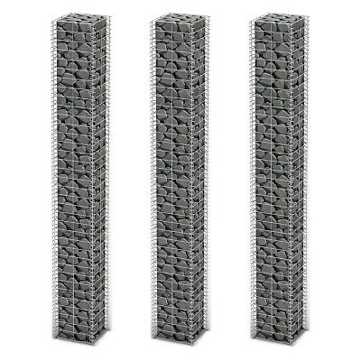3pcs Gabion Wall 4mm Strong Metal Gabions Basket 25x25x197cm Galvanized Steel