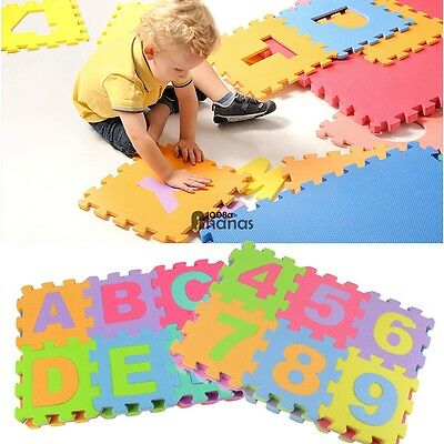 36 large interlocking eva foam alphabet letters numbers puzzle floor play mat