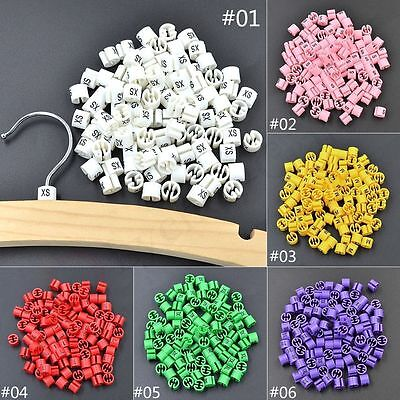 100Pcs Colored Hanger Sizer Garment Markers XS-5XL Plastic Size Marker Tags Cute