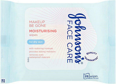 Johnson's Face Care Makeup Be Gone Moisturising Wipes (25)FREE UK DELIVERY