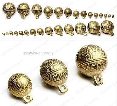 wholesale Chinese brass bell tiger head feng shui DIY Charms bells pendant beads