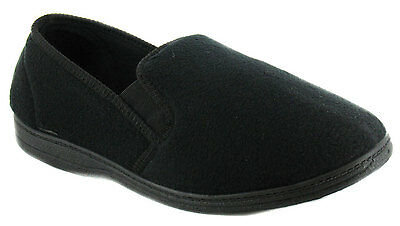New Mens/Gents Black Fleece Upper Twin Gusset Slippers. UK SIZES