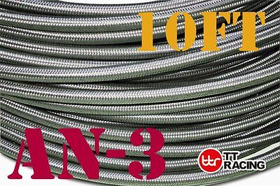 """1/8"""" Stainless Steel Braided Hose (AN-3) Fuel/Oil/Water - 10ft"""