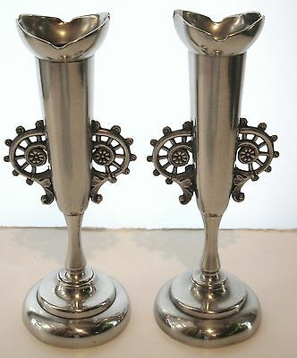 ANTIQUE COLLECTIBLE SILVERPLATE PEDESTAL VASES w/PEWTER HANDLES ROCKFORD SP CO.