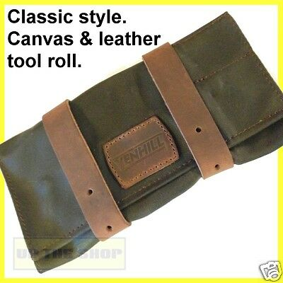 Venhill Motorcycle waxed canvas & leather tool roll, Classic Vintage motorcycle