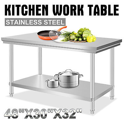 "30""X48"" Stainless Steel Work Prep Table Commercial Kitchen Restaurant New"