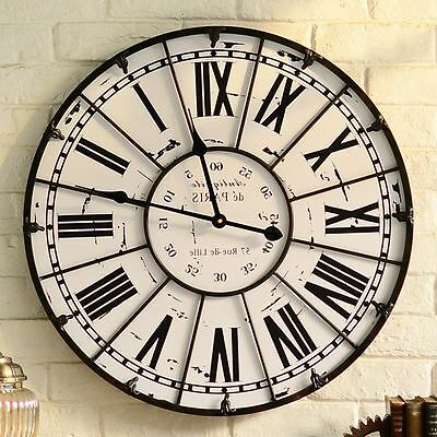 Large 60cm Metal Wall Clock Handmade Vintage Rustic Art Colourful Big Home Decor