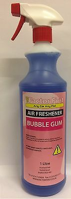 BUBBLE GUM CAR AIR FRESHENER LIQUID 1Litre VALETING FACTOR FIRST TRIGGER GUN