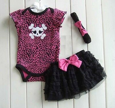 New Baby Girl Baby Girls Clothing Set 3PCS: headband+shirt+pant Princess Skull