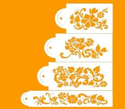 set 4 TIER floral DESIGNER damask STENCIL CAKE DECORATING lace WEDDING FONDANT