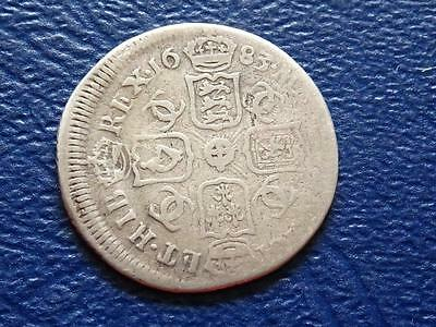 Great Britain - Charles 11 Silver Sixpence 1683 - Rare Date Mis-Struck
