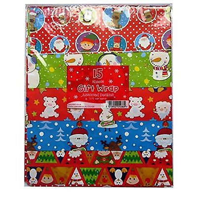 New 15 Sheets Assorted Designs Christmas Gift Wrapping Paper Traditional 3.75sqm