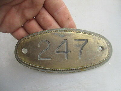 Vintage Brass House Number Plaque Room Sign Beading Architectural Antique  247