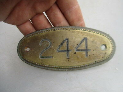Vintage Brass House Number Plaque Room Sign Beading Architectural Antique  244
