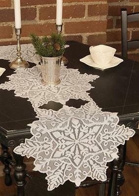 "Heritage Lace  Silver Snowflake Table Runner - 15"" x 52"""