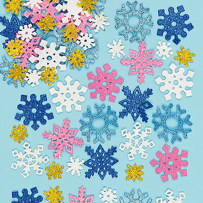Glitter Foam Snowflake Stickers for Children to Decorate  (Pack of 120)