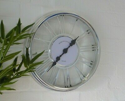Large Contemporary Cut Out Silver Chrome Glass RomanNumeral Skeleton Wall Clock
