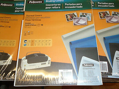 Fellowes Thermal Binding Covers Oversized 8.75X11. Lot Of 5 Packs Of 10 Free Shp
