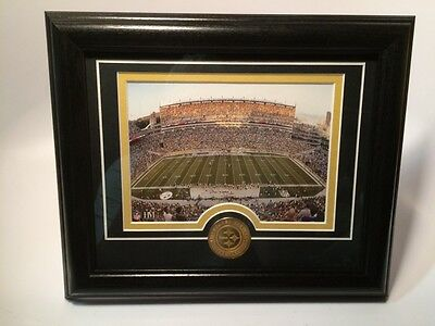 Pittsburgh Steelers Stadium Field Matted Framed Photo Plaque w Coin