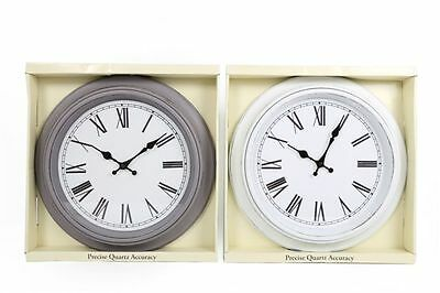 42cm Round Antique White Grey Distressed Chic Vintage Retro Station Wall Clock