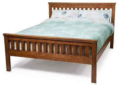 American Solid Oak wood King/Double bed frame with Bedside table