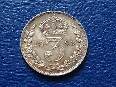 GREAT BRITAIN - QUEEN VICTORIA SILVER THREEPENCE 1893 3d TONED A / UNCIRCULATED