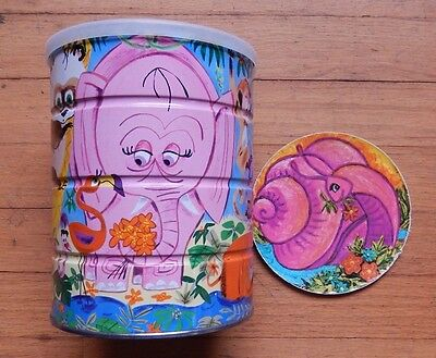 Vintage Folger's Tin Coffee Can Jungle Animals Zoo & Matching Lid Insert