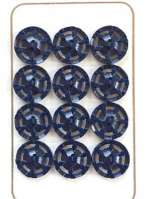 Vintage Buttons - 1930's 12 Navy Blue Carved Casein Buttons