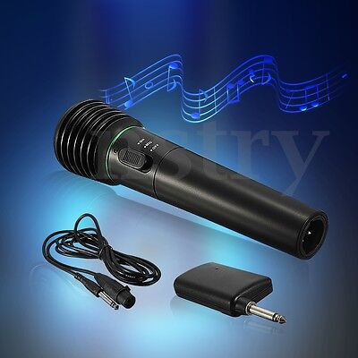 AU 2in1 Wired & Wireless Handheld Microphone Mic System Receiver Undirectional