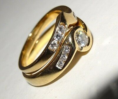Wedding/Engagement ring set 18k Yellow Gold Multistone Diamond Two Ring Set