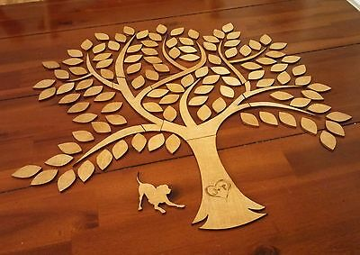 Wooden tree guest book heart or leaf customised wedding engagement party