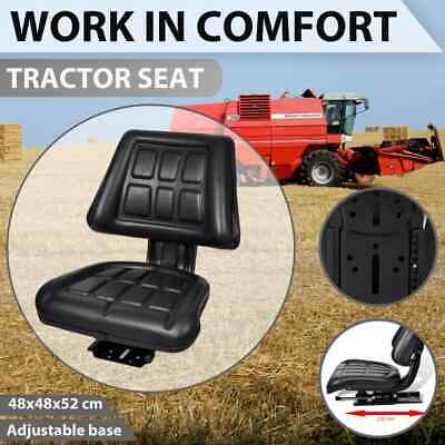 vidaXL Tractor Seat with Backrest Black Leather Replace Excavator Truck Chair
