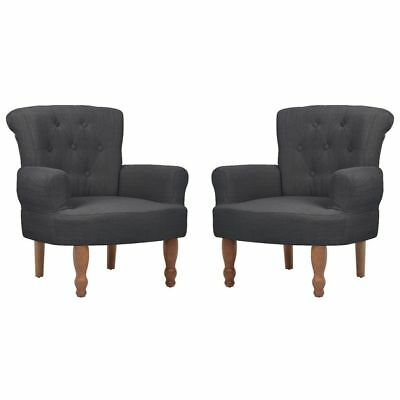 2pc French Provincial Arm Chair Grey Dining Armchair Wingback Sofa Wing Style
