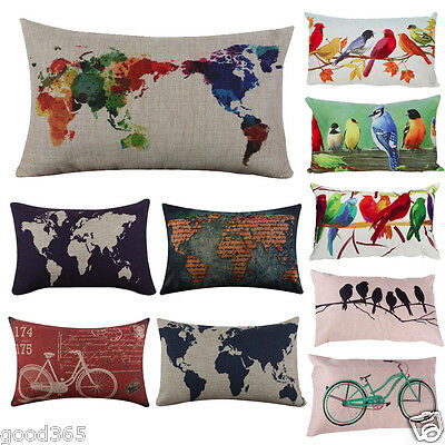 World Map Linen Square Throw Flax Pillow Case Decorative Cushion Pillow Cover US