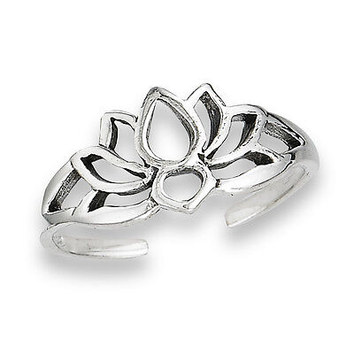 Sterling Silver LOTUS Flower Silhouette Outline Toe Ring Jewelry