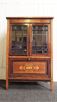 Antique inlaid rosewood glazed display cabinet / side cabinet
