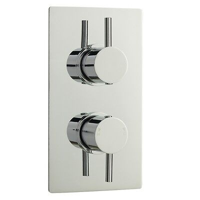Bathroom Twin Concealed Thermostatic Minimalist Shower Mixer Valve Chrome Finish