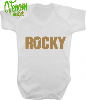 ROCKY Boxing Rocky Balboa Funny Baby Grow SHOWER Vest Bodysuit fathers day gifts