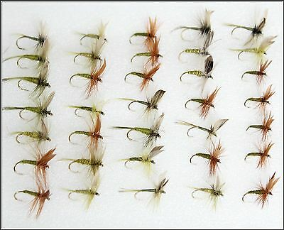 35 Trout Fishing Flies DRY OLIVE & GREENS set 86 on assorted 10, 12 14  hooks