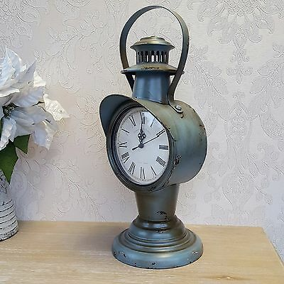 Grey Mantle Clock Shabby Chic Vintage French Retro Style Distressed Home Gift