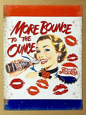 Pepsi Cola More Bounce to the Ounce - Tin Metal Wall Sign