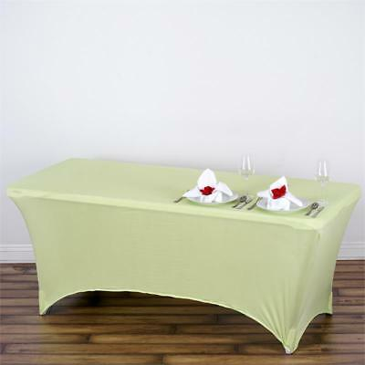 Tea Green 6 ft RECTANGLE SPANDEX STRETCH TABLE COVER Fitted Tablecloth