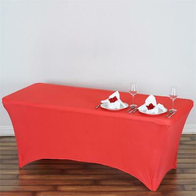Coral 6 ft RECTANGLE SPANDEX STRETCH TABLE COVER Fitted Tablecloth