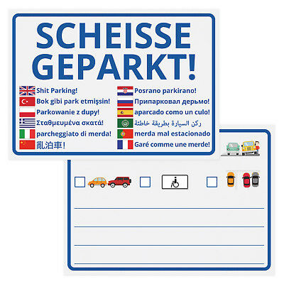 Notizblöcke Scheisse Geparkt! International Edition im 50er Set parken Strafe