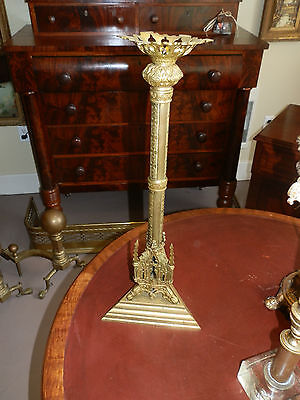 "Gorgeous Large 19"" Solid Brass Antique Ornate Embossed Alter Candlestick"